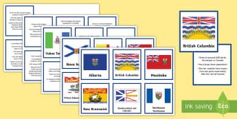 Canada's Provinces and Territories Facts Matching Cards - Earth Day, Canada, provinces, territories, environment, description, matching, social studies, Junio