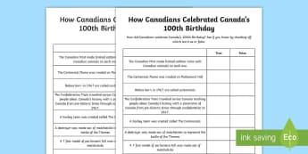 How Canadians Celebrated Canada's 100th Birthday True or False Activity Sheet - Canada's 150th Birthday, Canada History, Social Studies, Junior, Grade 4, Grade 5, Grade 6, Centenn