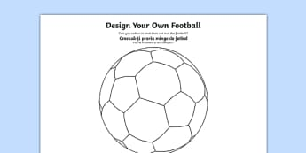 Design a Football Romanian Translation - romanian, Football, World Cup, Soccer, fine motor skills, colouring, designing, activity, foundation stage, euro 2016