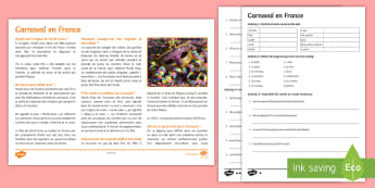 Carnival in France Differentiated Reading Comprehension Activity - French, Carnival, Carnaval, France, Mardi Gras, déguisement, se déguiser, masque, tradition, défi
