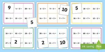 2, 3, 4, 5 and 10 Division Table Bingo - 2, 3, 4, 5 and 10 Division Table Bingo - dividing, sharing, division, 2, 3, 4, 5, 10, times table, t