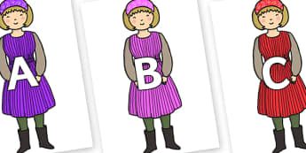A-Z Alphabet on Rapunzels Mother - A-Z, A4, display, Alphabet frieze, Display letters, Letter posters, A-Z letters, Alphabet flashcards