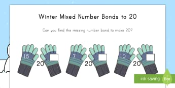 Winter-Themed Mixed Number Bonds to 20 Activity Sheets - winter, 20, number bonds, math, activity sheets, Worksheets