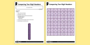 Comparing Two-Digit Numbers Game - Number and Place Value, greater than, less than, larger, smaller, maths vocabulary, maths mastery, y