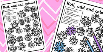 Flowers Roll and Dice Addition Game (3 Di) - Flowers, Roll, Game
