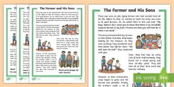 The Farmer and His Sons Story - Develop pleasure in reading, motivation to read, vocabulary and understanding, Understand what they