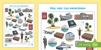 Holiday Travel Themed I Spy with My Little Eye Activity - Spanish - Vocabulary, KS2, holidays, travel, summer, trips, flying, travelling, themed, i spy with my little e