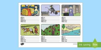 Who What Where When Sentence Building Activity Sheet English/Polish - sentance,senetnce building, setence, worksheet, EAL,Polish-translation
