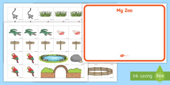 Zoo Map Cut and Stick Activity Sheets - EYFS, Early Years, The Zoo, Zoo Animals, At the Zoo, Map, Plan, Make Your Own, Cut and Stick. worksh