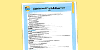 Queensland Curriculum Year 1 English Literacy Syllabus Overview - australia