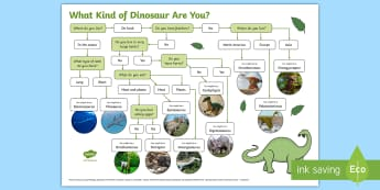 What Kind Of Dinosaur Are You? Activity Sheet - dinosaurs, fun activity, flow chart, Paleontology, extinct creatures, history