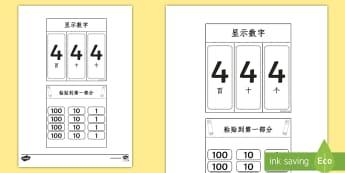 数字数位手翻书 - 个位,十位,百位,数位,数字,手翻书