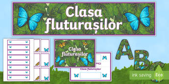 Clasa fluturașilor Pachet pentru panoul clasei - fluturi, septembrie, început de an școlar, decor clasă, noul an școlar,Romanian