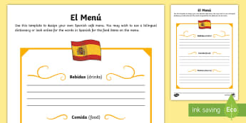 Spanish Template Role-Play Menu - Spanish food, Spanish drink, menu template, Spain, cafe, eating out