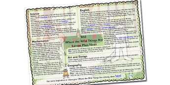 Lesson Plan Ideas KS2 to Support Teaching on Where the Wild Things Are - where the wild things are, where the wild things are lesson plan, where the wild things are lesson ideas
