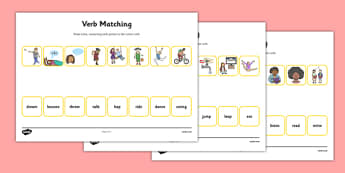 Verbs Matching Worksheet - verbs, matching, worksheet, match