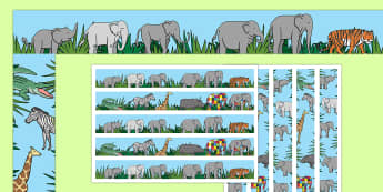 Display Borders to Support Teaching on Elmer - Elmer, Elmer the elephant, resources, Elmer story, patchwork elephant, PSHE, PSE, David McKee, colours, patterns, story, story book, story book resources, story sequencing, story resources, Display borde