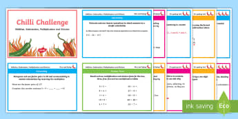 Chilli Challenge Year 4 Addition, Subtraction, Multiplication and Division Differentiated Maths Challenge Cards - calculate, estimate, inverse operations, factor pairs, Multiplication facts, division facts, one ste