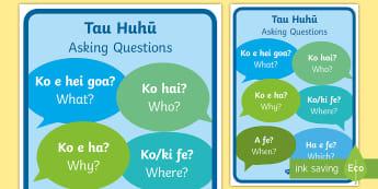 Asking Questions Display Prompts Niuean/English - niue, niue language week, niuean, tau huhuū, question prompts, pasifika