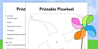 Pinwheel Activity Template and Instructions - summer, seasons, weather, wind