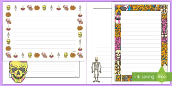 Day of the Dead Page Border Pack - Day of the Dead, borders, page borders, writing, dia de los muertos