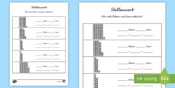 Stellenwert Arbeitsblatt - Zahlen, Rechnen, Mathe, Einer, Zehner,German