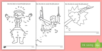 Circus Dot To Dot Count in 5 and 10 - circus, dot to dot, join the dots, counting, 5s, 10s, counting in 5s, counting in 10s, circus game, circus activities