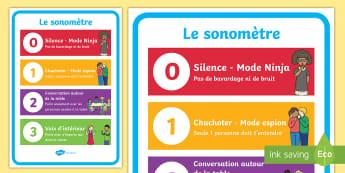 Affiche : Le sonomètre - Cycle 1, cycle 2, Classroom Organisation, organisation de la classe, poster, affiche, display, sonom