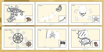 Dot to Dot Sheets Pirates - pirates, fine motor skills, games