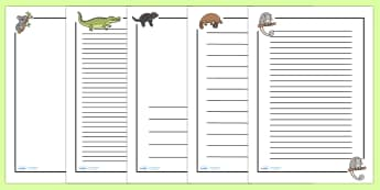 Australian Animals Page Borders - Australian animals, page border, a4 border, template, writing aid, writing border, page template, kangaroo, wallaby, kookaburra, wombat, crocodile, koala, possum