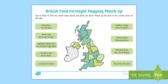 KS1 British Food Fortnight Mapping Match-Up Activity Sheet - 23rd September, 8th October, 2017, geography, UK, food source, maps, Worksheet