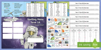 Year 5 Space Themed Spelling Menu Pack -  spag, gps, home learning, weekly, lists, test,