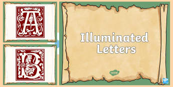 Illuminated Letters PowerPoint - illuminated letters, letters, embellished letters, art, manuscripts,