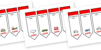 Editable Transport Bookmarks - Transport, Bookmark, bookmark template, present, book, reward, achievement, car, van, lorry, bike, motorbike, plane, aeroplane, tractor, truck, bus