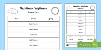 Dyddiau'r Wythnos, Taflen Weithgaredd Ddoe a Heddiw - Dyddiau'r wythnos, Days of the Week, tywydd, weather,Welsh, diwrnodau'r wythnos