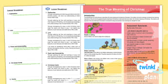 CfE Second Level Planit Religion Year 5 The True Meaning of Christmas PlanIt Overview - xmas, december, christians, christianity, religion, RE, gifts, nativity