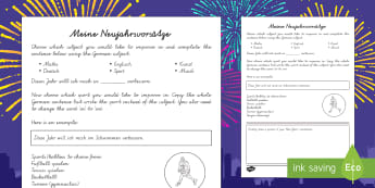 New Year's Resolution Activity Sheet German - Neujahr, New Year, Silverster, New  Year's Eve, Germany, German, new year resolutions, targets, get