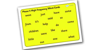Phase 4 High Frequency Word Mat for Visually Impaired -  phase 4, high, frequency, word, mat, visually, impaired, high frequency, visually impaired