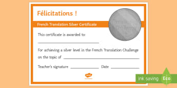 French Translation Challenge Silver Certificate French - French, Translation, certificate, silver, award, reward,French