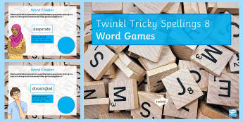 Twinkl Tricky Spellings List 8  PowerPoint Game  - tricky spellings, list 8 spellings, KS 3 Spellings, commonly misspelled words, vocabularly, SPaG, GC