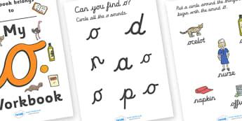 My 'o' Workbook (cursive) - workbook, o sound, lowercase, cursive, letters, alphabet, activity, handwriting, writing