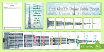 Burj Khalifa Times Table Tower Display Pack - UAE, times, times table, multiply, multiplication, tower, Burj, Khalifa