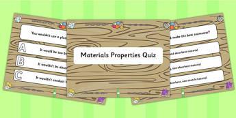Material Properties PowerPoint Quiz - material, properties, quiz