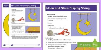 Moon and Flag Display String Craft Instructions - Flag, Bahrain, Moon, Ramadan, Banner, Display