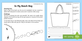 In My Beach Bag Activity Sheet - Amazing Fact Of The Day, activity sheets, powerpoint, starter, morning activity, June, KS1, year 1,