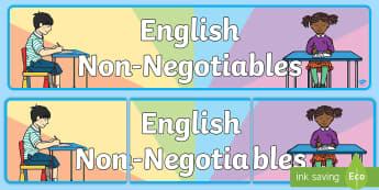 English Non-Negotiables Display Banner - Subject, Classroom, learning wall, prompt