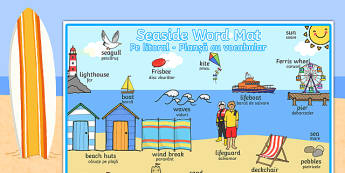 Seaside Themed Scene Word Mat Romanian Translation - romanian, seaside, at the seaside, seaside word mat, seaside scene word mat, labelled seaside scene, seaside key words, beach