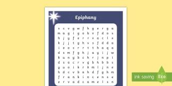 KS1 Epiphany Word Search - KS1 Epiphany, Epiphany word search, Year 1, Year 2, Magi, wise men, epiphany, journey, star, gifts w