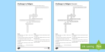 Challenges to Religion Crossword - Challenges to Religion; secularism