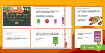 UKS2 Chinese New Year Multiplication and Division Maths Challenge Cards - Chinese New Year, chinese maths, multiplication, division, multiplying by 10, multiplying by 100, cu